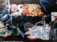 A heron surrounded by writtens | Airone | New York Murales