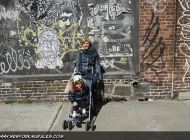 That's Stella and I in front of a wall full of stickers and tags | Stickers and tags | New York Murales