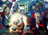 A boss of the tobacco industry is painted like a rich octopus, while people arond him are seriously ill or death. Even a fetus is smoking his deathly game | Against tobacco industry | New York Murales