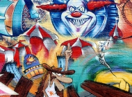 A cowboy, a circus and Toy Killer | Detail of the cartoon style murales | New York Murales