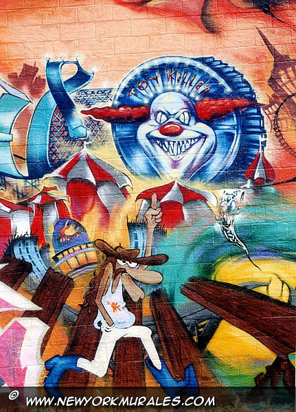 Detail of the cartoon style murales