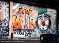 A murales against the war in Kuwait, in 1991. Here the written: No pretexts by US 4 Arab domination and Stop clowing around and bring our troops back | Stop the war | New York Murales