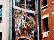 A pregnant woman smoking. Lungs are crosses and burned trees. The baby is dying suffocated. Doctors and an ambulance are working on the woman's lungs | Smoking pregnant woman | New York Murales
