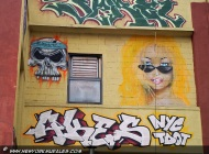 A skull and a blond girl, whth a Barbie look | Long Island | 5 Pointz | New York Murales