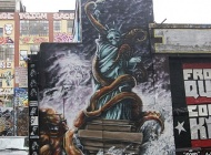 The Statue of Liberty wrapped by a giant octopus during an hurricane | Long Island | 5 Pointz | New York Murales