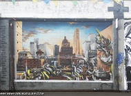 New York City skyline behind some fururistic objects or robots | Long Island | 5 Pointz | New York Murales